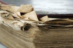 Old worn paper sheets of book Stock Photography