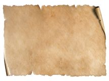 Old worn paper sheet isolated on white royalty free stock photos