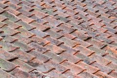 Old Worn Roof Tiles. Old Brown Worn Roof Tiles Royalty Free Stock Photos