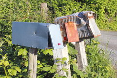 Old, Worn, Rural Mailboxes Royalty Free Stock Image
