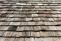 Old worn shingle roof pattern Stock Images