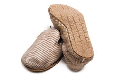 Old worn slip on shoes Royalty Free Stock Photo