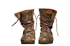 Old worn soldiers work boots Stock Photography
