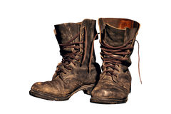 Old worn soldiers work boots Royalty Free Stock Photos