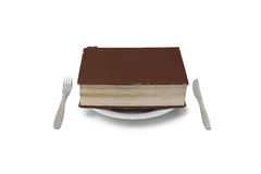 Old worn thick book of bookworm on plate. An old thick book is for hunger of a bookworm Stock Images