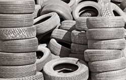 Old worn and used tires ready for recycling stock photo
