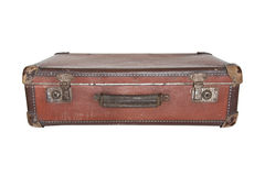 Old worn warped travel suitcase Stock Photo