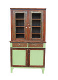 Old and worn wooden cupboard isolated. Stock Photo
