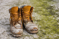 Old worn work boots Stock Image