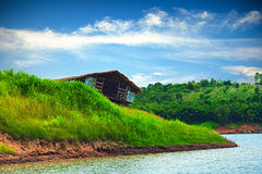 Old wreck boathouse. The old wreck boathouse at noon Stock Image