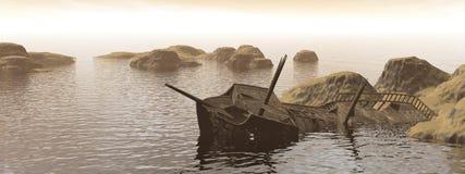 Old wreck - 3D render Stock Photos