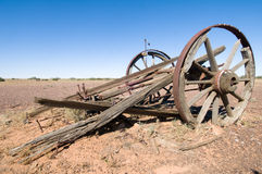 Old wrecked cart in Outback Australia Stock Photography