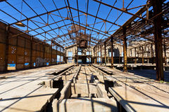 Old wrecked factory. View of an old, wrecked factory building at Piraeus industrial zone, Athens - Greece Royalty Free Stock Photo