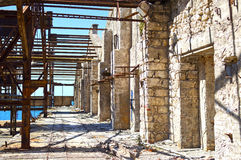 Old wrecked factory. View of an old, wrecked factory building at Piraeus industrial zone, Athens - Greece Royalty Free Stock Photography