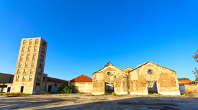 Old wrecked factory. View of an old, wrecked factory buildings at Athens, Greece Royalty Free Stock Image
