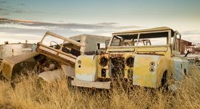 Old wrecks on a farm. Old vehicles left to ruin after they have past their useful life working on the farm. Wooramel Station, Western Australia Royalty Free Stock Photography