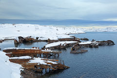 Old wrecks. Near the village of Teriberka, Murmansk oblast, Kola Peninsula, Russia Royalty Free Stock Photos