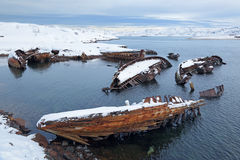Old wrecks. Near the village of Teriberka, Murmansk oblast, Kola Peninsula, Russia Royalty Free Stock Images