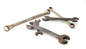 Old Wrenches. Old assortment open box end standard steel wrenches royalty free stock image