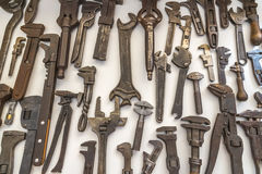 Old wrenches. Antique wrenches on white background Stock Image