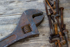 Old wrenches on the nuts and bolts Royalty Free Stock Photo