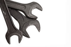 Old wrenches for repair on a white background Stock Image