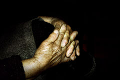 Old wrinkled hands. Clopse up on wrinkled hands of an old woman Royalty Free Stock Image