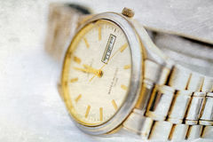Old wristwatch with metal wristlet Stock Photos