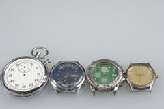 Old wristwatch. Wrist mechanical and quartz watches, defective. Old wristwatch. Time stopped. Old wristwatch. Wrist mechanical and quartz watches, defective. For Stock Images