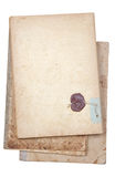 Old writing-book with the sealing wax press. On a white background Royalty Free Stock Photos