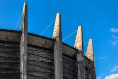 Old wroclaw. Panorama building against blue sky madae of wood Royalty Free Stock Photos