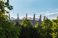 Old wroclaw. Panorama building against blue sky madae of wood trees Stock Photos