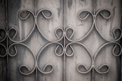 Old Wrought Iron Bars On The Gate With Grunge And Rusty Steel B Stock Photo