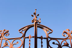 Old Wrought Iron Gate with blue sky, Tangier stock images