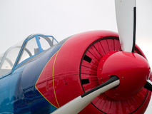 Old WW2 aircraft close-up. Old WW2 propeller fighter aircraft nose close-up Stock Photo
