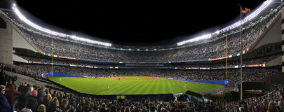 Old Yankee Stadium. Night image of the old New York Yankee stadium in July 2008, looking in from left field bleecher Stock Photo