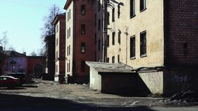 Old yard in city stock footage