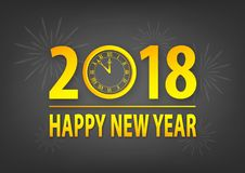 The old year has gone, best wishes and happy new year 2018. Happy new year 2018 gold plated text on vector background Royalty Free Stock Image