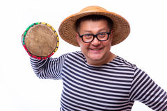 Old year singer dress like sailor with drum. On white background Stock Photos
