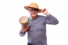 Old year singer dress like sailor with drum. On white background Royalty Free Stock Images