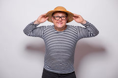 Old year singer dress like sailor with drum. On white background Royalty Free Stock Photo
