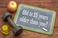 Old is 15 years older than you on blackboard Stock Images