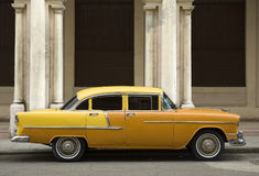 Old yellow american car royalty free stock images