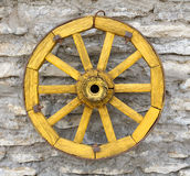 Old  Yellow Antique Wagon Wheel Royalty Free Stock Image