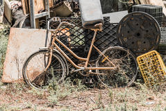 Old the yellow bicycle Royalty Free Stock Images