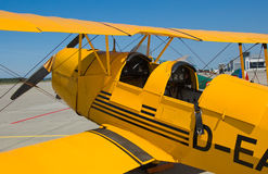 Old yellow biplane Stock Photos