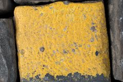 Old yellow and black granite road cubes or cobbles as background or wallpaper. Vertical image. Old yellow and black granite road cubes as background or stock image