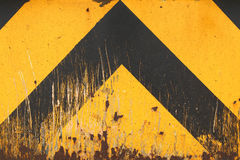 Old Yellow and Black Marking. Old Yellow and Black Arrow Marking Sign Royalty Free Stock Image