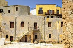 Old yellow building on the territory of the Mariti Stock Photography