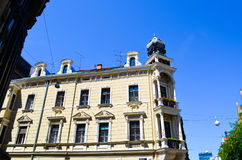 Old  yellow building in Zagreb, Croatia. Royalty Free Stock Photo